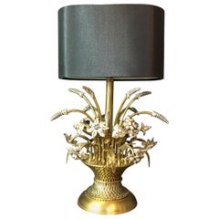 Midcentury Brass Wheat Sheaf and Flowers Lamp