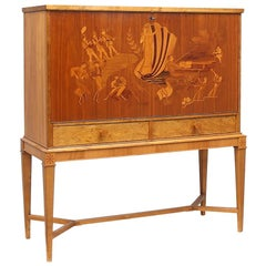 """Jazz Age"" Swedish Art Deco Inlaid Bar-Birger Ekman for Reiners Mobler, 1930s"
