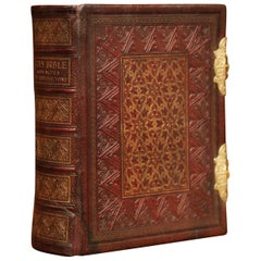19th Century English Leatherbound and Brass Locks Holy Bible with Illustrations