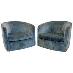 Pair of Mid-Century Modern Swivel Club Chairs on Wheels