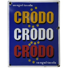 1960s Italian Vintage Rectangular Metal Enamel Crodo Advertising Sign