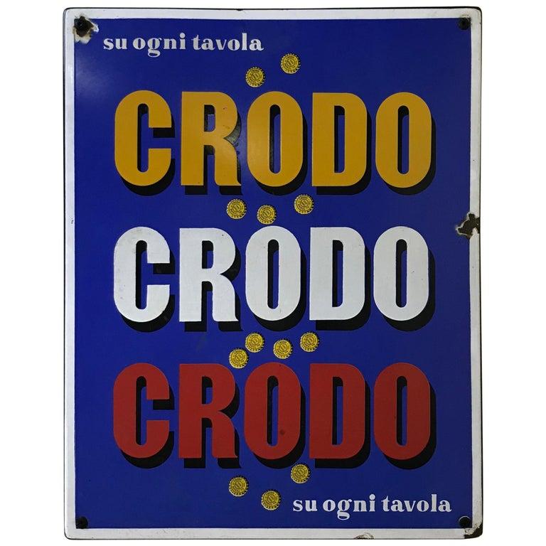 1960s Italian Vintage Rectangular Metal Enamel Crodo Advertising Sign
