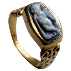 Ancient Roman Gold Onyx Cameo Ring with Cupid and Torch, 150 AD