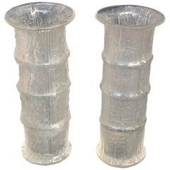 1960s Pair of Bamboo Shape Textural Glass Vases by Timo Sarpaneva for Iittala