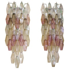 Late 20th Century Pair of Long Multi-Color Polyhedron Murano Glass Sconces