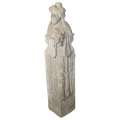 Antique Carved Stone Temple Sculpture of a Woman from, China, 17th Century