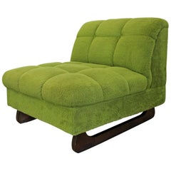 Mid-Century Modern Adrian Pearsall Style Green Sculpted Leg Slipper Chair