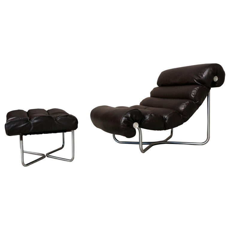 Glasgow Lounge Chair with Ottoman by Georges van Rijck for Beaufort