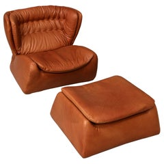 1970s Durlet Pasha Armchair and Footstool Designed by Heinz Waldmann & A.Schmidt
