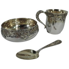 Shiebler American Japonesque Silver Gilt Water Lily Baby Set