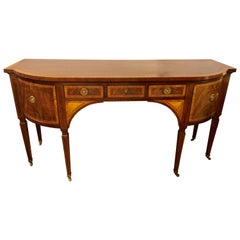 Baker Stately Homes Sheraton Style Mahogany and Satinwood Inlaid Sideboard