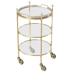 Mid-20th Century Round Brass Bar Cart or Dry Bar with Three Glass Shelves