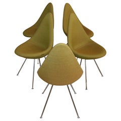 5 Vintage Drop Chairs by Fritz Hansen in Olive Green Fabric