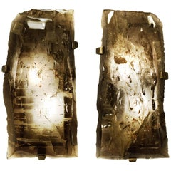 Pair of Natural Smoky Rock Crystal Sconces by Phoenix