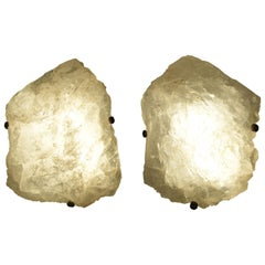 Pair of Natural Rock Crystal Sconces by Phoenix