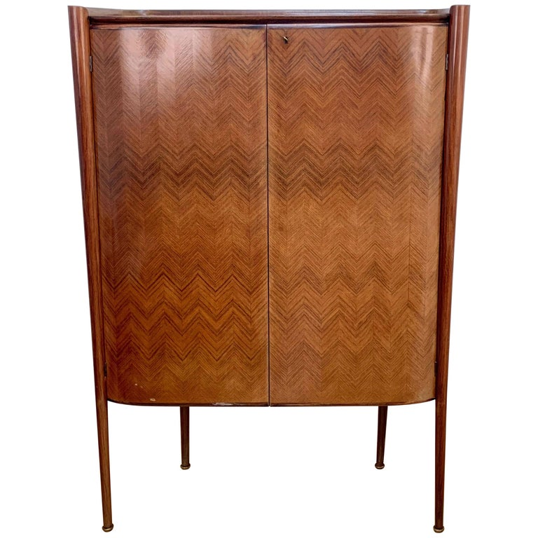 Paolo Buffa, Dry Bar, Rosewood, Mirrors and Drawers, Italy, 1950s