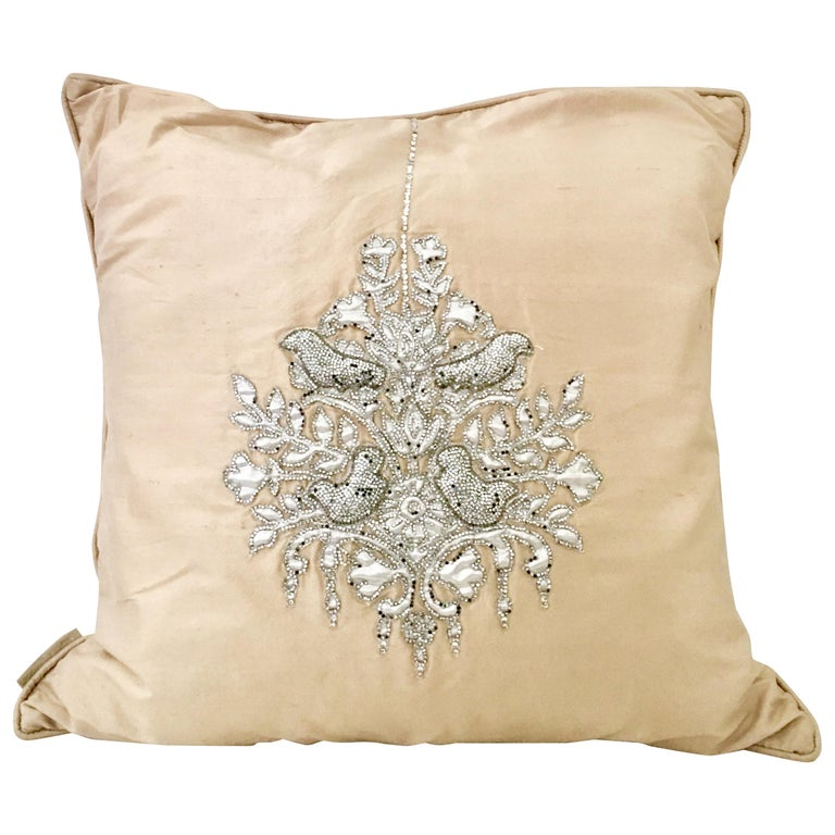 "21st Century Silk & Swaorovski Crystal ""Bird"" Pillow By, Sivaana"