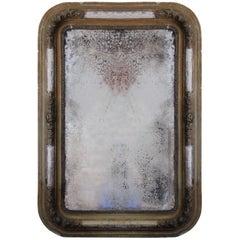 Antique Wall Mirror in Wooden Decorative Frame, circa 19th Century