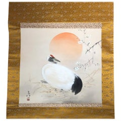 Japanese Bold and Old Hand-Painted Sun Rise and Crane Silk Scroll, Original Box