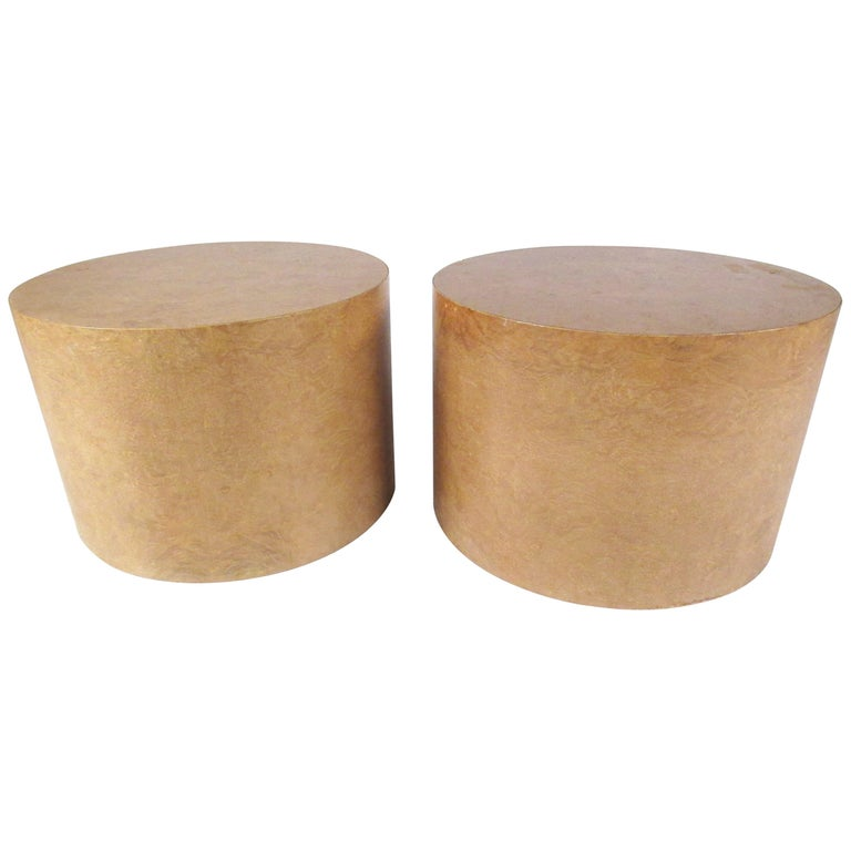 Pair of Mid-Century Modern Cylinder End Tables in Burl Finish For Sale