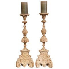 Pair of 19th Century Carved Pricket Candleholders and Carved Eye of Providence