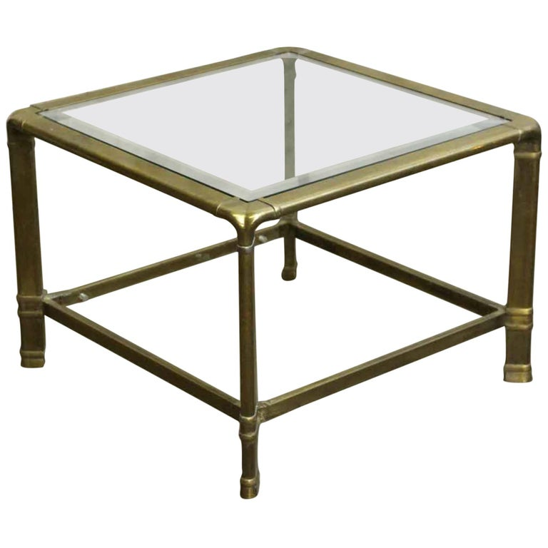 1970s Brass Mid-Century Modern End Table For Sale