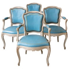 Set of 4 Louis XV Style Armchairs in Blue Leather