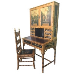 Hand-Painted Asian Chinoiserie Secretary Desk and Chair