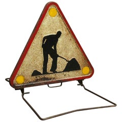 1970s French Work in Progress Road Construction Sign