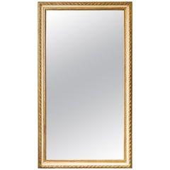 Large Rectangular French 19th Century Mirror with Gold and White Frame