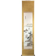 Japan Placid Boats and Mountains Vintage Hand-Painted Scroll with box
