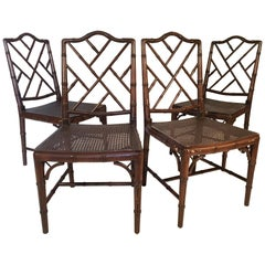 Set of Four Chinese Chippendale Faux Bamboo Dining Chairs