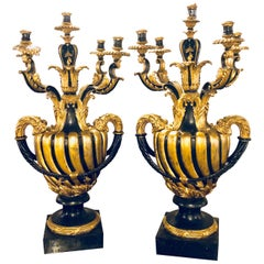 Pair of Monumental Italian Antique Ebony and Gilt Urn Sconces or Candelabras