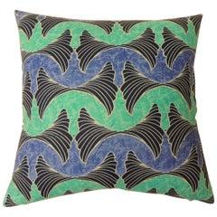 "Waxed Cotton Blue and Aqua ""Ocean"" Decorative Pillow"