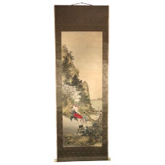 Two Samurai in Summer Japanese Antique Hand-Painted Silk Scroll, Taisho Period