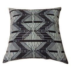 "Waxed Cotton Tone-on-Tone Indigo Blue ""Ashanti"" Decorative Pillow Doubled-Sided"