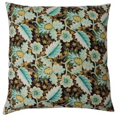 "Waxed Cotton Floral Green & Black ""Ghent"" Decorative Pillow Double-Sided"