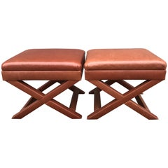 A. Rudin Occasional Leather X Benches