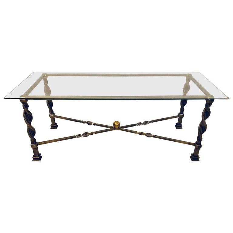 Hollywood Regency Style Brass and Steel Glass Top Coffee Table Manner Jansen