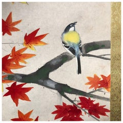 Gold Finch and Maples Japanese Antique Hand-Painted Silk Scroll, Meiji Period