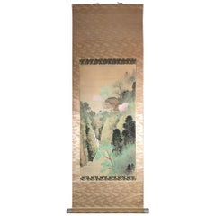 Mountain Retreat Kusaya Japanese Antique Hand-Painted Silk Scroll, Meiji Period