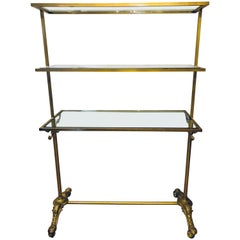 Hollywood Regency Three-Tier Large Bakers Rack Gilt Metal and Glass Shelves