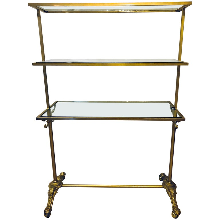 Hollywood Regency Three-Tier Large Bakers Rack Gilt Metal and Glass ...