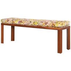 1940s Mid-Century Modern Wooden Bench Freshly Upholstered