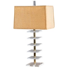 Mid-Century Modern Lucite and Brass Lamp, France, circa 1965