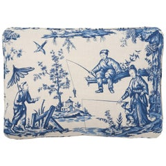 Schumacher Shengyou Toile Chinoiserie Indigo Blue Linen Cotton Pillow