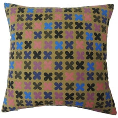 "Quilted Cotton Red and Blue ""Osaka"" Decorative Pillow"