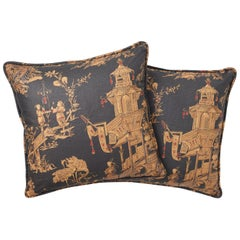 Schumacher Chinois Chinoiserie Charcoal Gold Two-Sided Pillows, Pair