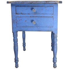 19th Century Cherry Two-Drawer Stand in Original Polychrome Surface Paint