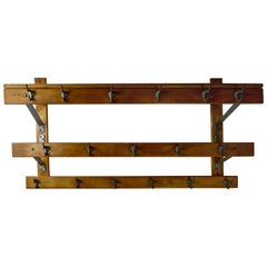 1930s Wooden Hall Clothing Coat Rack, Mudroom